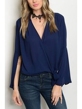 Splice Side Tie Blouse