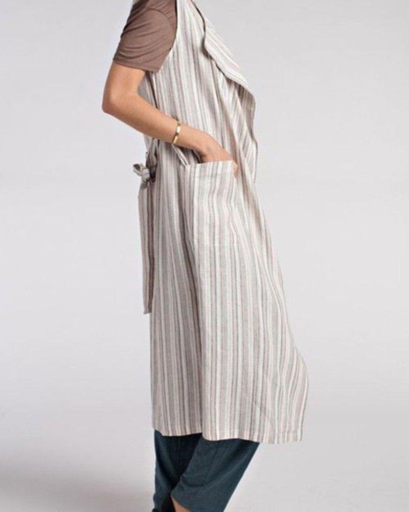 Belted Waist Long Vest