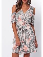 Shoulder cutout wrap dress