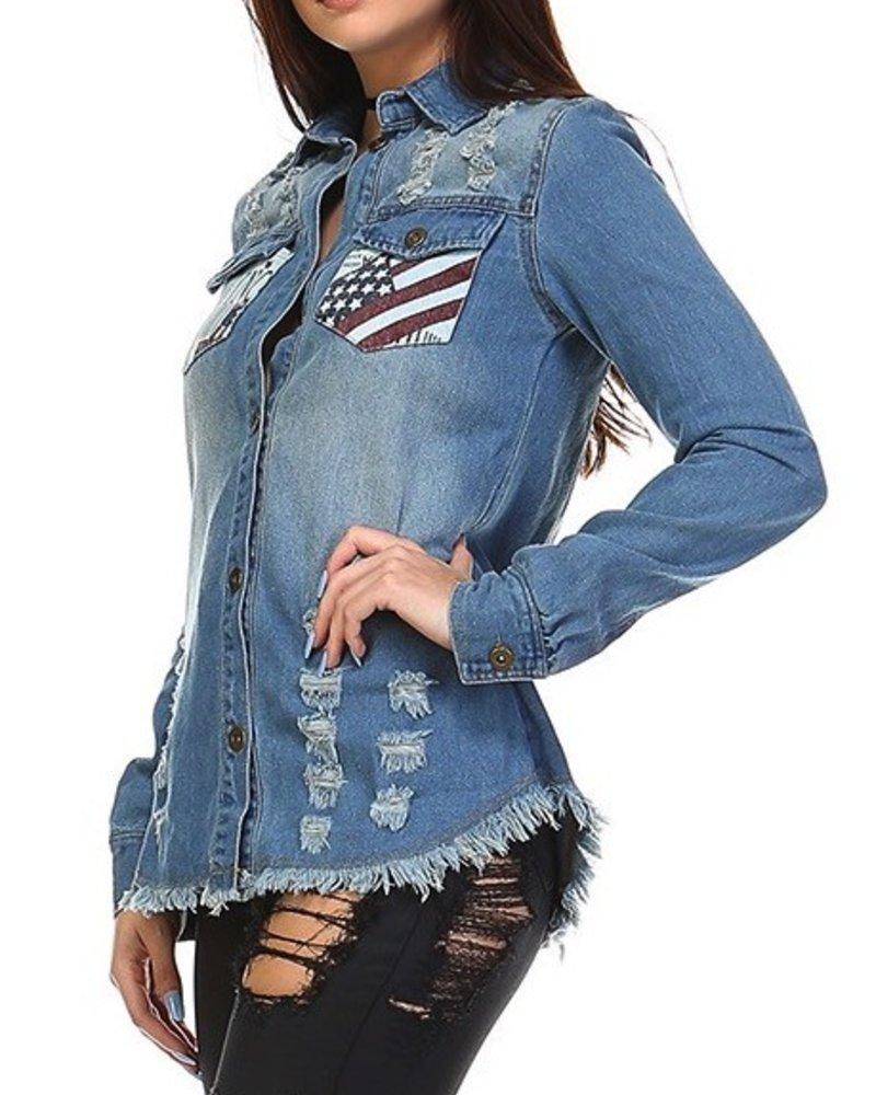 Flag Pocket Denim Jacket