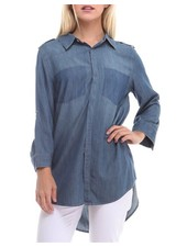 Denim Faux Pocket Top