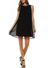 Jeweled Neckline Pleated Dress