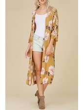 Floral Kimono with Trim