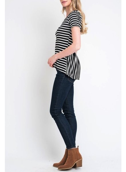 Striped top with peplum in back