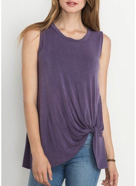 Washed Knotted Front Top