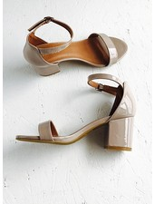 Single strap patent leather with 2 1/4 inch block heel