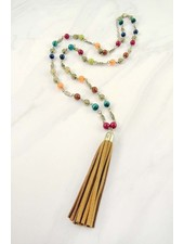 Multi colored beaded tassel necklace.