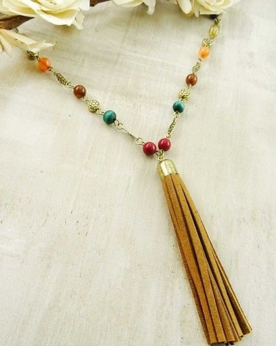 Multi colored beaded tassel necklace.
