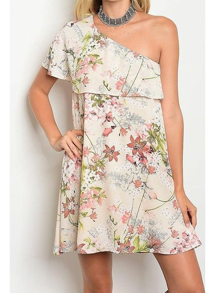 One Shoulder Floral Mini Dress