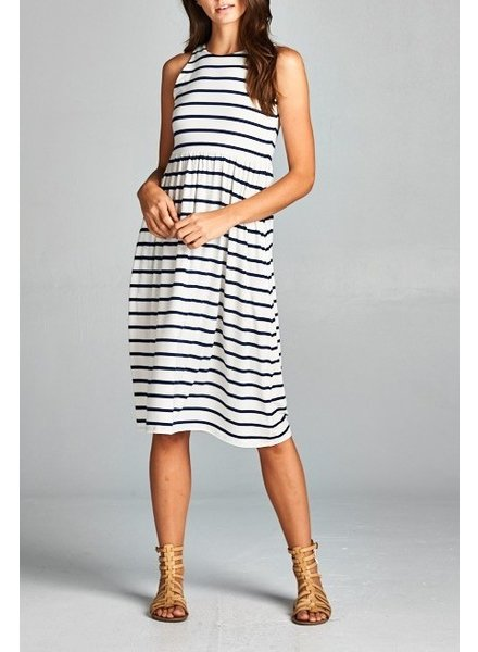 Striped razor back tank midi dress