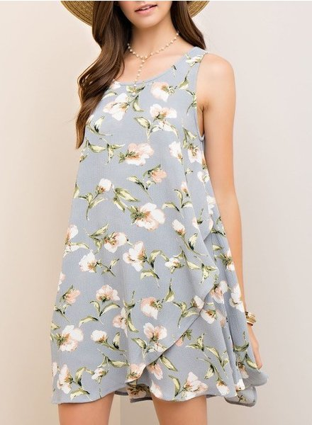 Floral print wrap-style dress with  back cutout