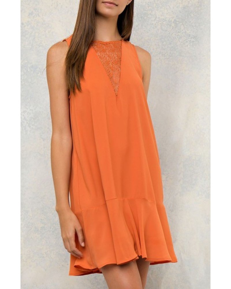 Solid Tent Dress with Lace Dress