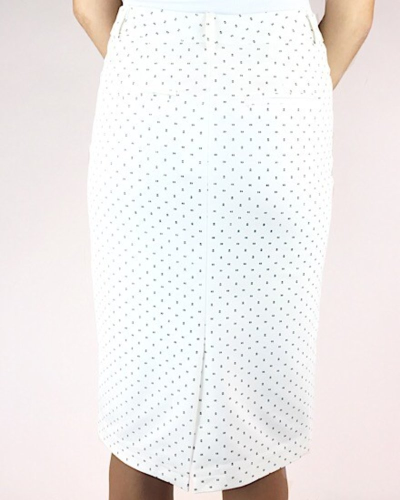 Pencil skirt with button front waistband, front zipper and back pocket