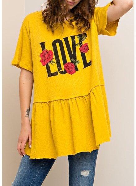 "Peplum ""love"" graphic top"