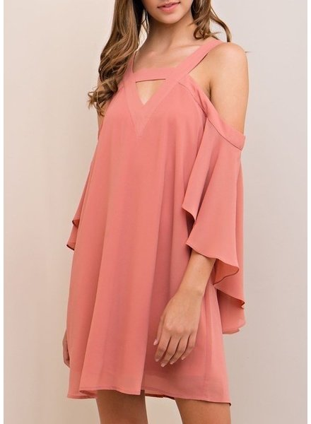 Cold Shoulder Shift Dress with Front Cutout