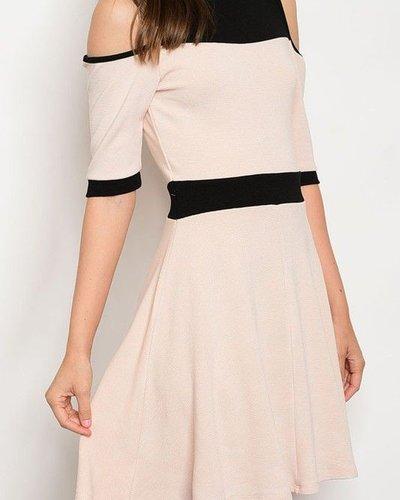 SSLV Cold Shoulder dress w/two tone waist & bodice