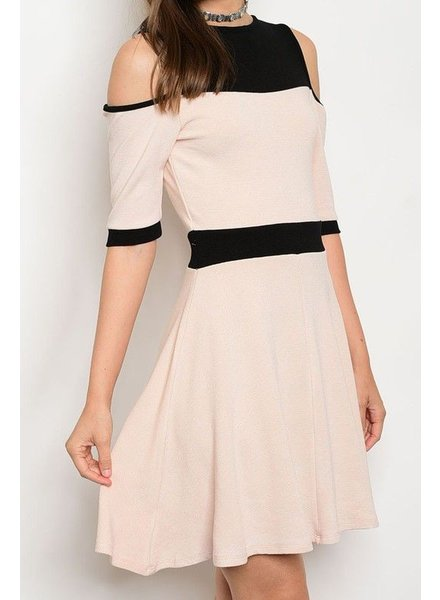 SSLV Cold Shoulder dress w/two tone waist & bodice