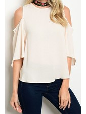 3/4 Slv Cold Shoulder Top