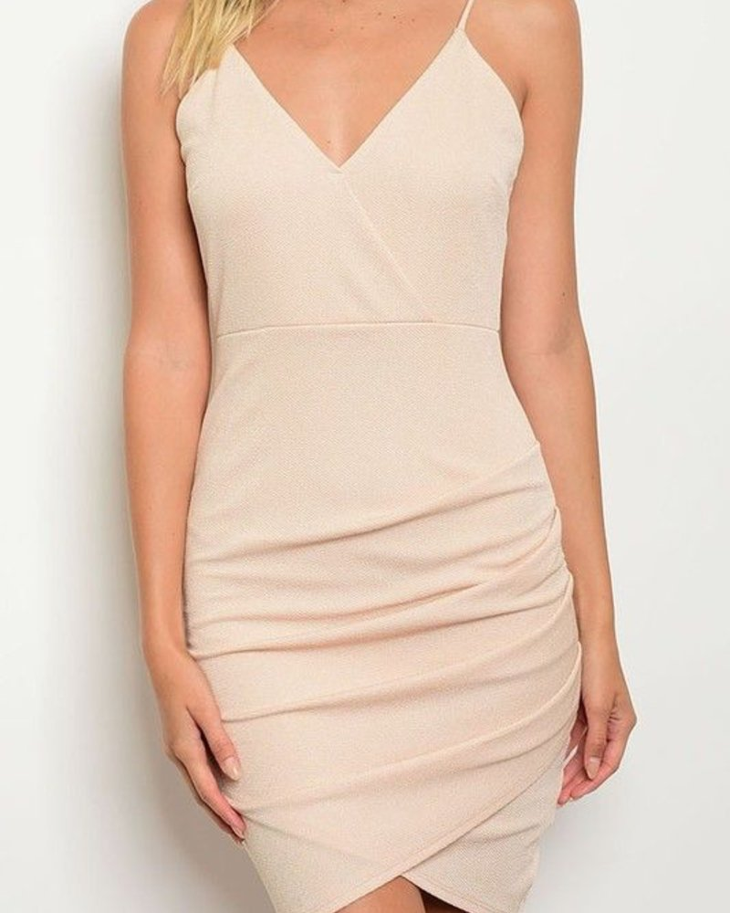 Criss Cross bodice w/spaghetti straps and front folding detail