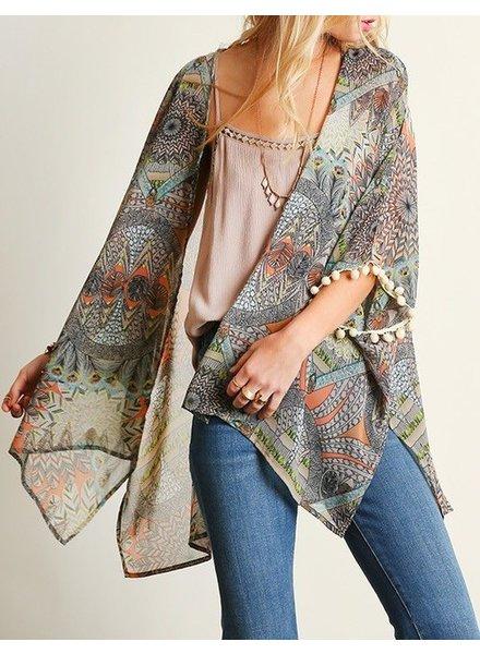 Tribal Print Kimono with Sleeve
