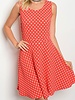 SLEEVELESS POLKA DOT FLARE DRESS
