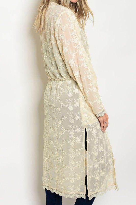 Embroidery Crochet Long Cardigan