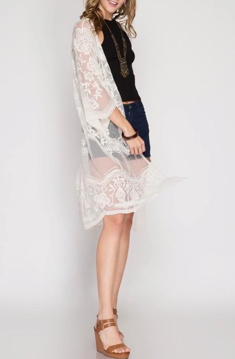 Crochet Lace Midi Duster