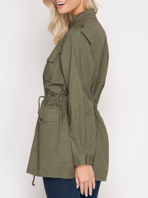 Military Jacket with Drawstring