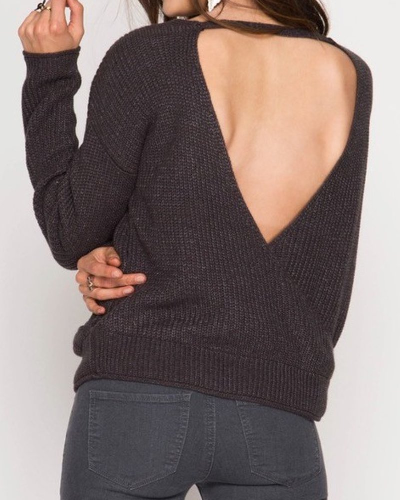 Surplice Sweater with Open Back