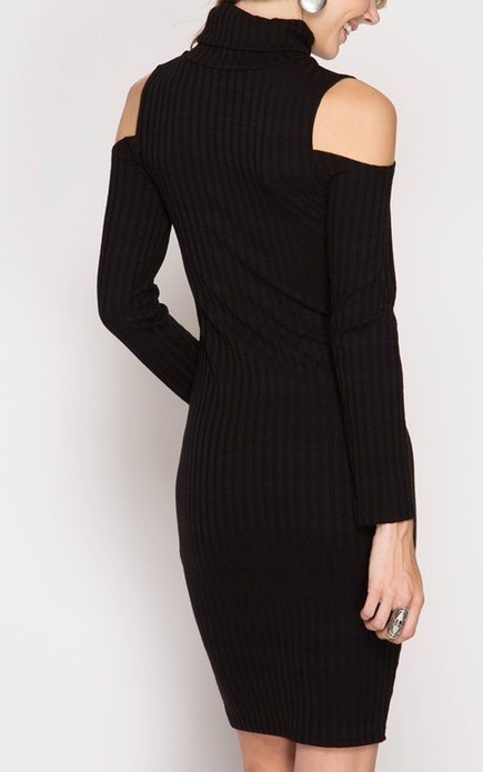 Ribbed Turtle Neck Midi Bodycon Dress