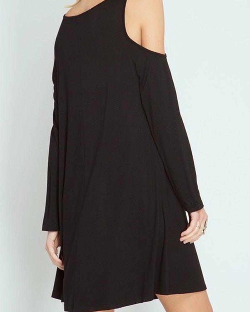 Cold Shoulder Spaghetti Neck Detail Dress