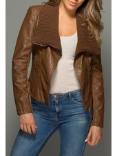 Knit-Collared Faux Leather Jacket