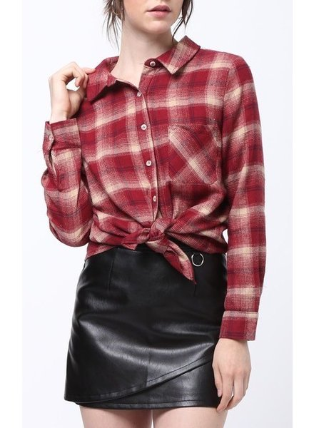 Plaid Top with Zipper Back