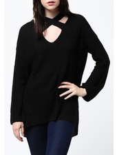 Criss-cross neckline sweater