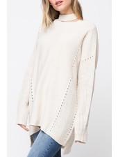 distressed collar sweater