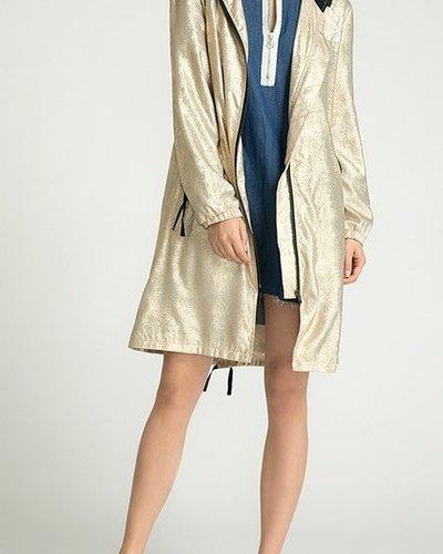 Metallic hoody 3/4 slv jacket