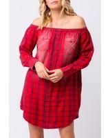 off shoulder flannel