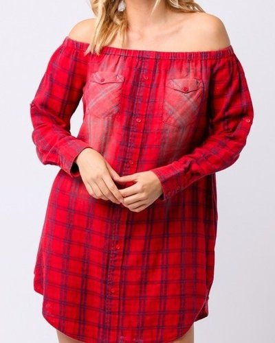 off shoulder flannel