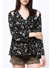 Floral LSLV cut out shoulder