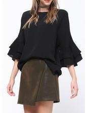 Faux suede mini skirt w/diagonal frt closure