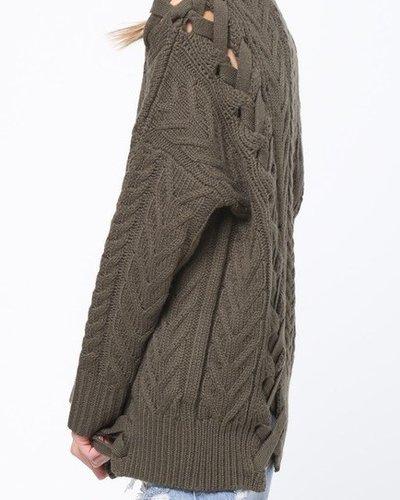 Lace Up Knit Sweater