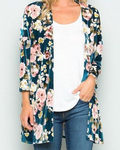 Floral Velvet Cardigan