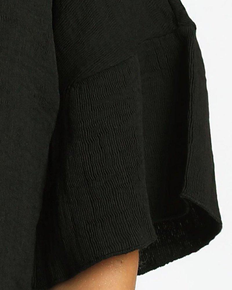 Bell Sleeve Crinkled Top
