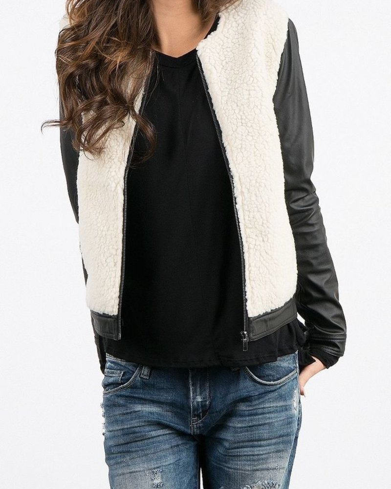 Vegan Leather/ Wool Jacket