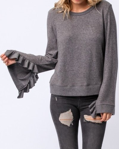 Sweater With Ruffle Sleeve