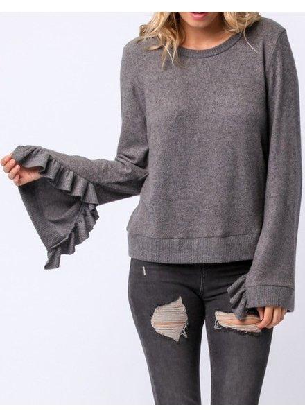 Sweater With Ruffle Sleeve