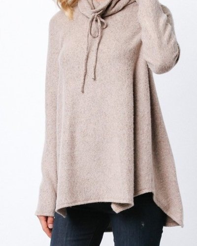 L/S brushed top w/cowl & drawstring