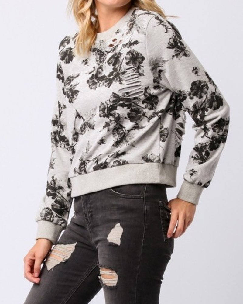 L/A crop floral sweater