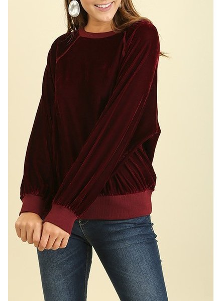 Long Sleeve Velvet Top