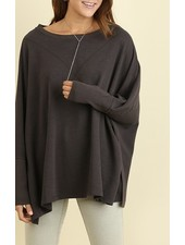 Round Neck Side Slit Top
